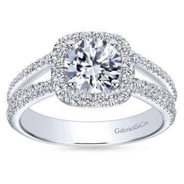 Gabriel & Co. 14k White Gold Contemporary Criss Cross Diamond Engagement Ring