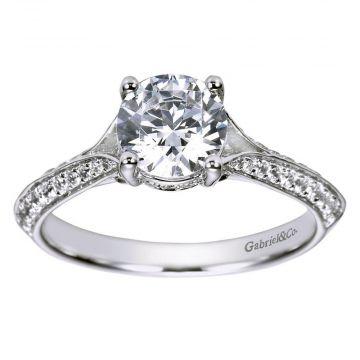 Gabriel & Co. 14k White Gold Contemporary Split Shank Diamond Engagement Ring