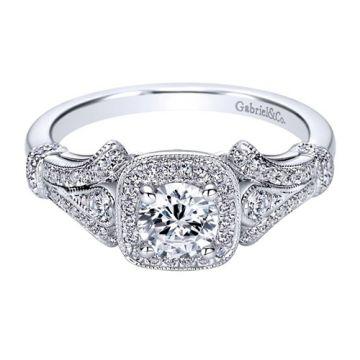 Gabriel & Co. 14k White Gold Victorian Diamond Engagement Ring
