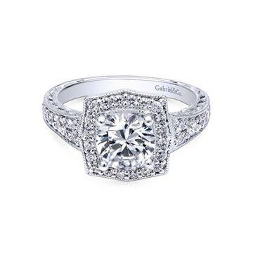 Gabriel & Co. 14k White Gold Victorian Halo Diamond Engagement Ring