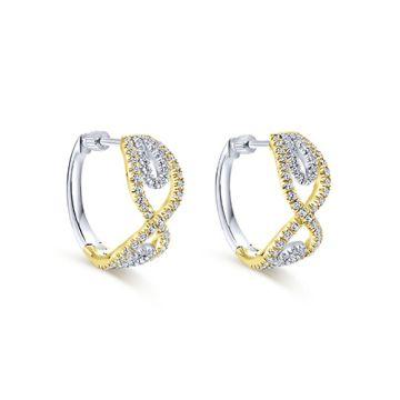 Gabriel & Co. 14k White and Yellow Gold Diamond Huggie Earrings