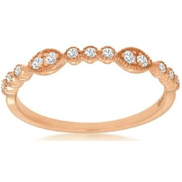 14 Karat Rose Gold Scalloped Diamond Band 110-11422