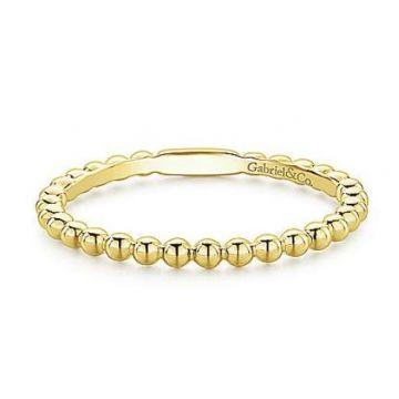 Gabriel & Co. 14K Yellow Gold Bujukan Beaded Stackable Ring 120-10879