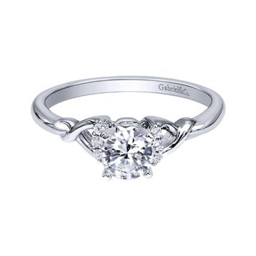 Gabriel & Co. 14k White Gold Contemporary Twisted Diamond Engagement Ring