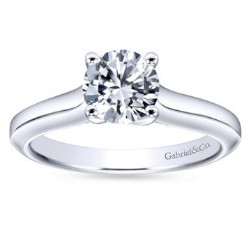 Gabriel & Co. 14k White Gold Contemporary Solitaire Diamond Engagement Ring