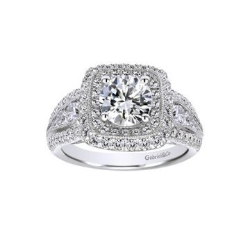 Gabriel & Co. 14k White Gold Contemporary Double halo Diamond Engagement Ring