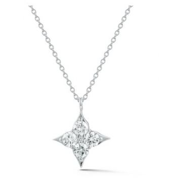 SJ Collection 18 Karat White Gold Diamond Star Necklace 220-12281