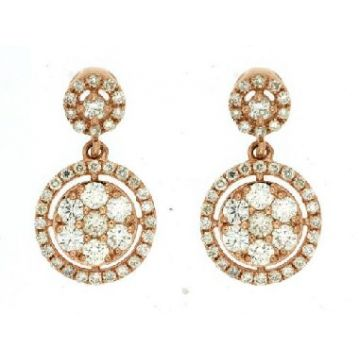 14 Karat Rose Gold Diamond Cluster Dangle Earrings 241-11338