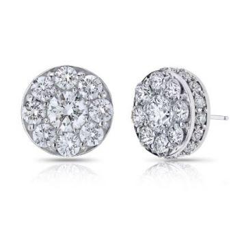 SJ Collection 18 Karat White Gold Cluster Earrings 241-11352
