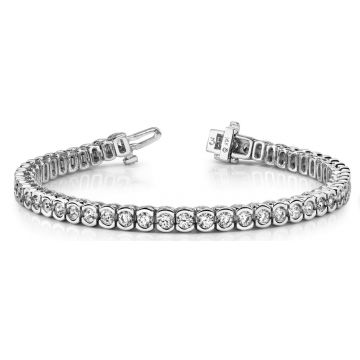 14 Karat White Gold Bezel Set Diamond Tennis Bracelet 260-10522