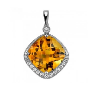 Stanton Color 14 Karat White Gold Citrine and Diamond Pendant 264-12363