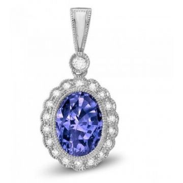 Stanton Color 14 Karat White Gold Tanzanite and Diamond Pendant 264-12390