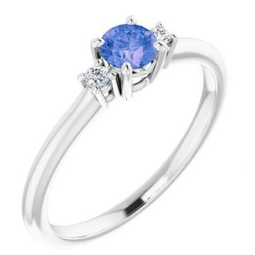 14 Karat White Gold Tanzanite and Diamond Ring 265-11680