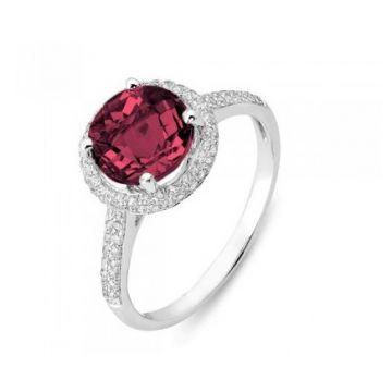 Stanton Color 14 Karat White Gold Rhodalite Garnet and Diamond Ring 265-11947