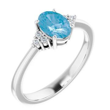 Stuller 14 Karat White Gold Blue Topaz and Diamond Ring 265-11993