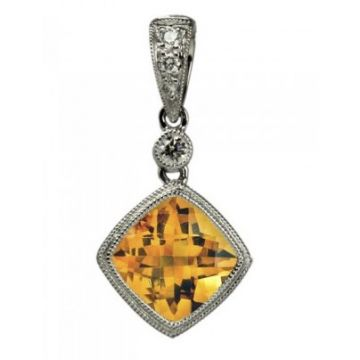 Stanton Color 14 Karat White Gold Citrine and Diamond Pendant 270-10006