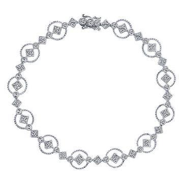 Gabriel & Co. 14k White Gold Victorian Diamond Bangle Bracelet
