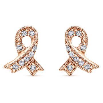 Gabriel & Co. 14k Rose Gold Care Diamond Stud Earrings