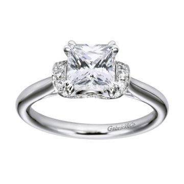 Gabriel & Co. 14k White Gold Eclipse Straight Diamond Engagement Ring