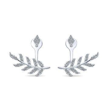 Gabriel & Co. 14k White Gold Gemini Earrings Diamond Peek a Boo Earrings