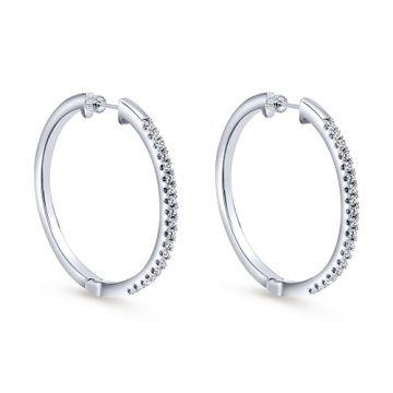 Gabriel & Co. 14k White Gold Diamond Hoop Earrings