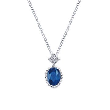 Gabriel & Co. 14k White Gold Diamond and Gemstone Pendant