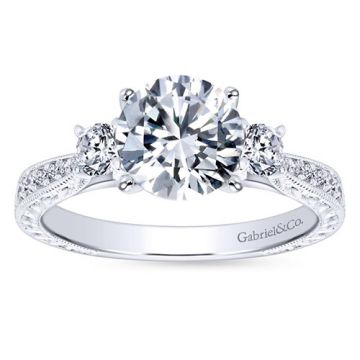 Gabriel & Co. 14k White Gold Victorian 3 Stone Diamond Engagement Ring