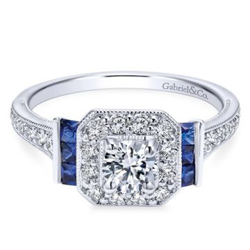 Gabriel & Co. 14k White Gold Contemporary Diamond and Gemstone Engagement Ring