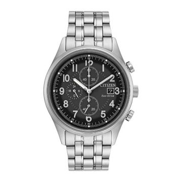 Citizen Eco Drive Stainless Steel Black Dial 42 mm Men's Watch