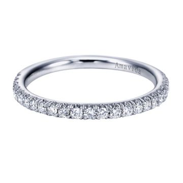 Gabriel & Co. 14k White Gold Contemporary Anniversary Diamond and Gemstone Wedding Band