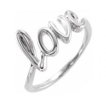"""Stuller 14 Karat White Gold """"Love"""" Ring 501-10017"""