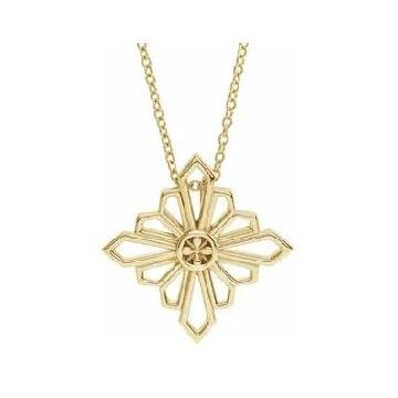 Stuller 14 Karat Yellow Gold Vintage Inspired Geometric Necklace 502-10095