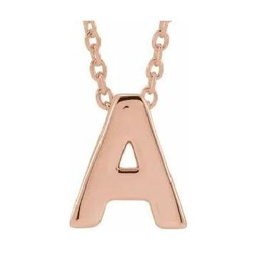 Stuller 14 Karat White Rose Gold Initial A necklace 502-10109