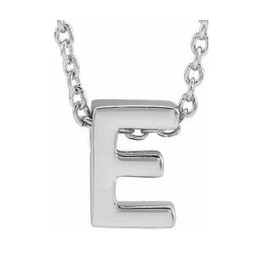 Stuller 14 Karat White Gold Initial E Necklace 502-10110
