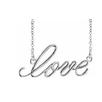 "Stuller 14 Karat White Gold ""Love"" Necklace 502-10112"