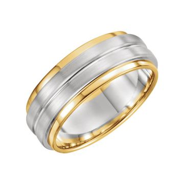 14k Two Tone Gold Grooved Flat Edge Wedding Band