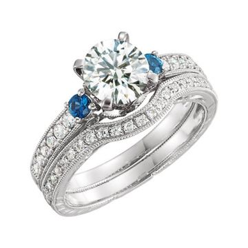 14k White Gold Blue Sapphire and Diamond Semi-mounting Engagement Ring