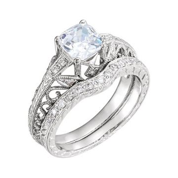 14k White Gold Round Diamond Semi-mounting Hand-Engraved Engagement Ring