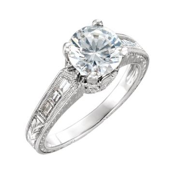 14k White Diamond Semi-mounting Engagement Ring