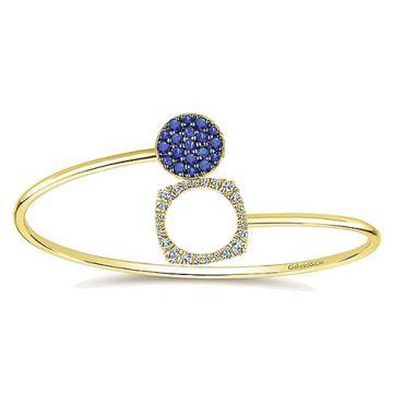 Gabriel & Co. 14k Yellow Gold Byblos Diamond and Gemstone Bangle Bracelet