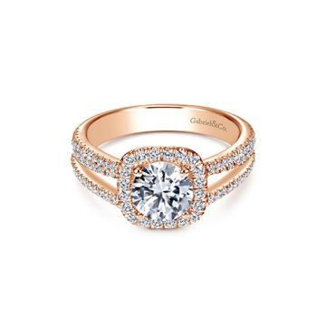 Gabriel & Co. 14k Rose Gold Contemporary Halo Diamond Engagement Ring