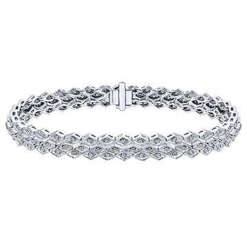 Gabriel & Co. 14k White Gold Victorian Diamond Tennis Bracelet