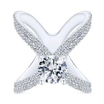 Gabriel & Co. 14k White Gold Nova Split Shank Diamond Engagement Ring