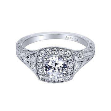 Gabriel & Co. Platinum Victorian Halo Diamond Engagement Ring