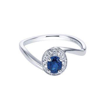Gabriel & Co. 14k White Gold Halo Diamond and Gemstone Engagement Ring
