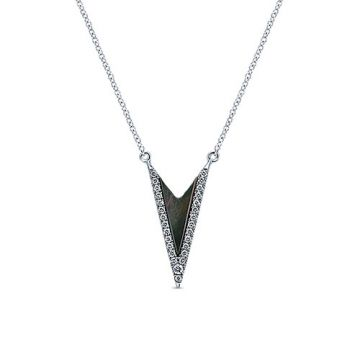 Gabriel & Co. 14k White Gold Kaslique Diamond,Gemstone Necklace