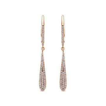 Gabriel & Co. 14k Rose Gold Diamond Drop Earrings