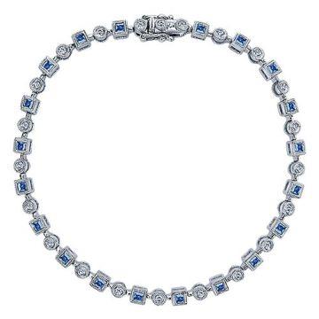 Gabriel & Co. 14k White Gold Victorian Diamond and Gemstone Tennis Bracelet