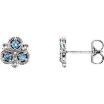 14k White Gold Aquamarine Three-Stone Earrings