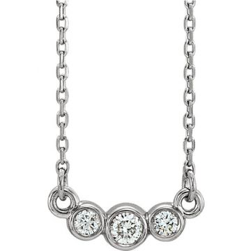 14k White Gold Graduated Diamond Necklace